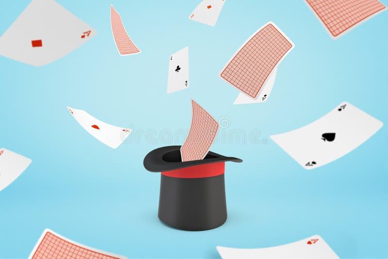 tolkning 3d av trollkarlhatten med spela kort för flyg på ljust - blå bakgrund royaltyfri illustrationer