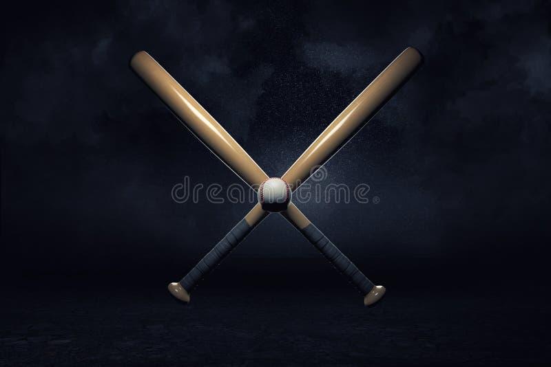 tolkning 3d av två baseballslagträn som ligger över de i ett kors med en liten boll i deras mitt royaltyfri illustrationer