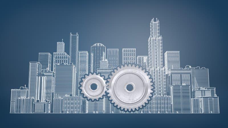 tolkning 3d av två gripa in i varandra kugghjul inom en stor dragen bild av stadsbyggnader på en blå bakgrund royaltyfri illustrationer