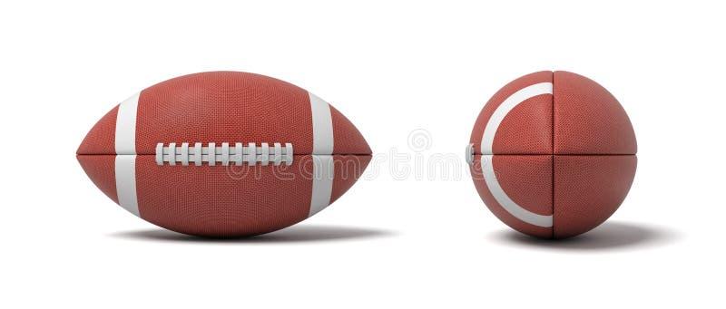 tolkning 3d av två röda bollar för en oval för amerikansk fotboll framme och sidosikter royaltyfri illustrationer