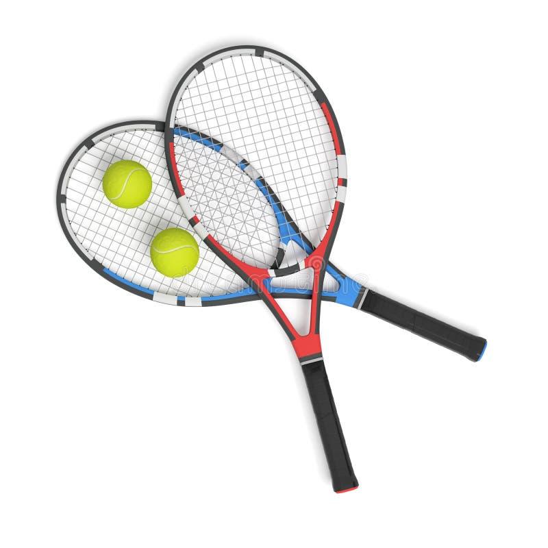tolkning 3d av två tennisracket av olika färger med bollar över dem royaltyfri illustrationer