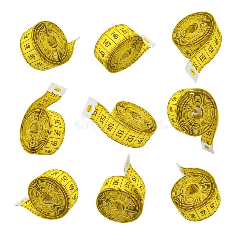 tolkning 3d av uppsättningen av hoprullade gula mäta band som isoleras på vit bakgrund vektor illustrationer