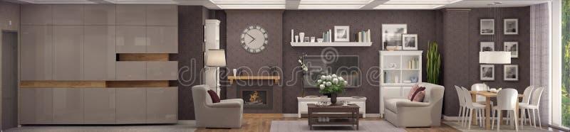 tolkning 3D av vardagsrum av en klassisk lägenhet stock illustrationer