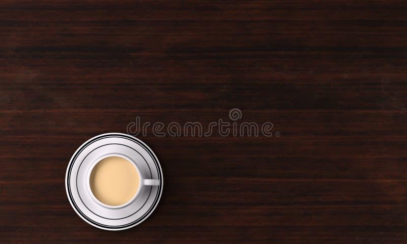 tolkning 3D: En kopp av mjölkar te/kaffe och tefatet på tabellen, bästa sikt royaltyfri illustrationer