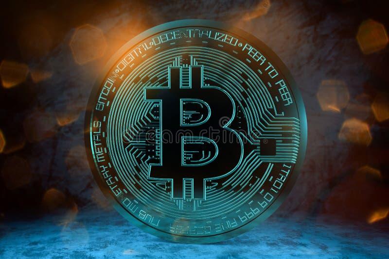 tolkning 3D från ett crypto valutamynt arkivfoto