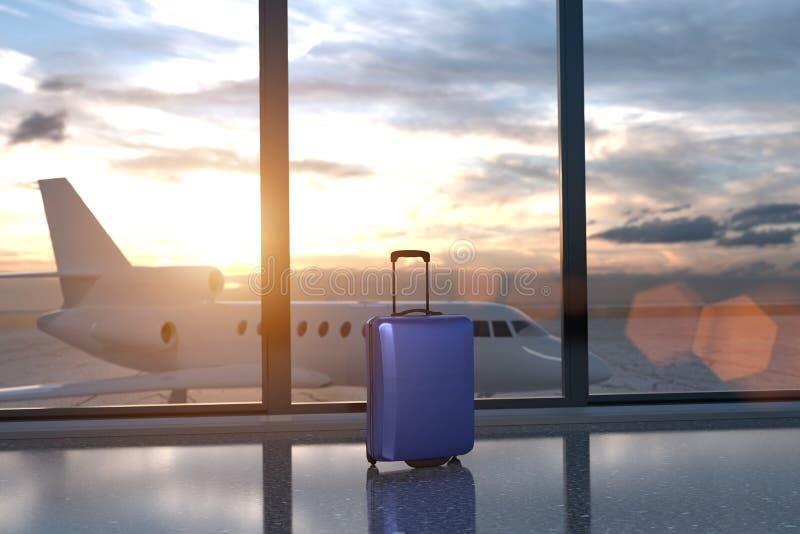 tolkning 3D från ett enkelt bagage på flygplatsen med ett strålflygplan bak exponeringsglasen stock illustrationer