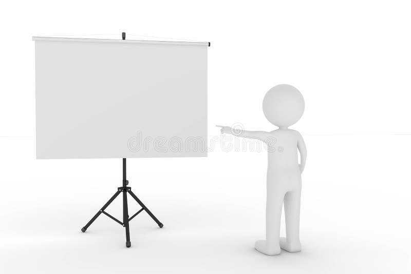tolkning 3D från ett leratecken som en presentatör som pekar till en tom whiteboard arkivbild