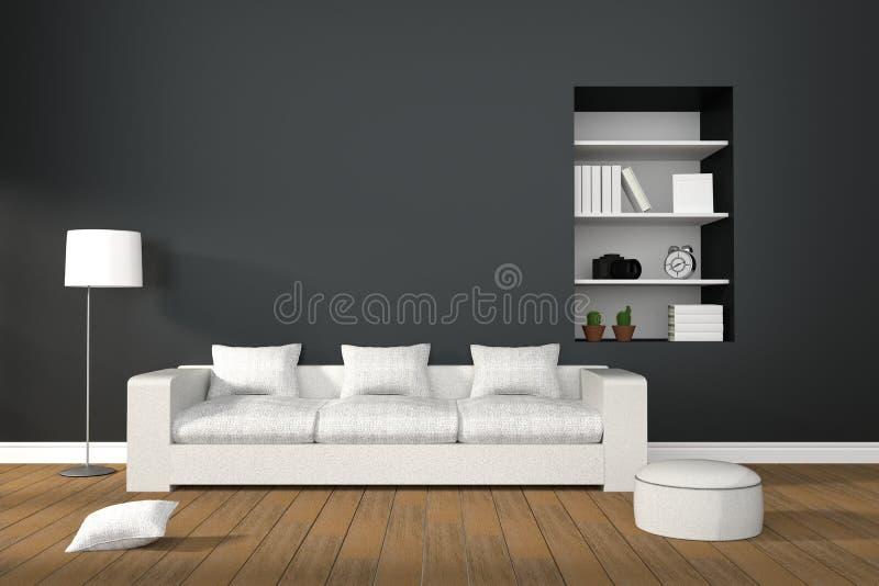 tolkning 3D: illustration av den moderna vardagsruminre med vitt soffamöblemang royaltyfri illustrationer