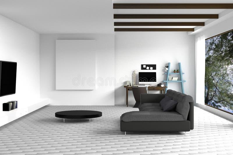 tolkning 3D: illustration av den vita vardagsruminredesignen med den mörka soffan blank rambild hyllor och vitväggar royaltyfri illustrationer