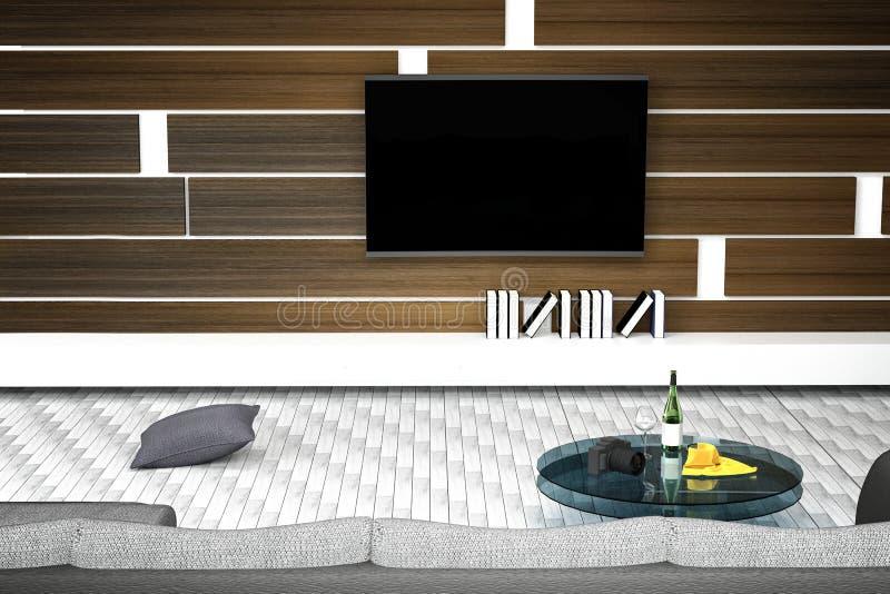 tolkning 3D: illustration av den vita vardagsruminredesignen med soffan hyllor och träväggar glass tabell med vinflaskan royaltyfri illustrationer