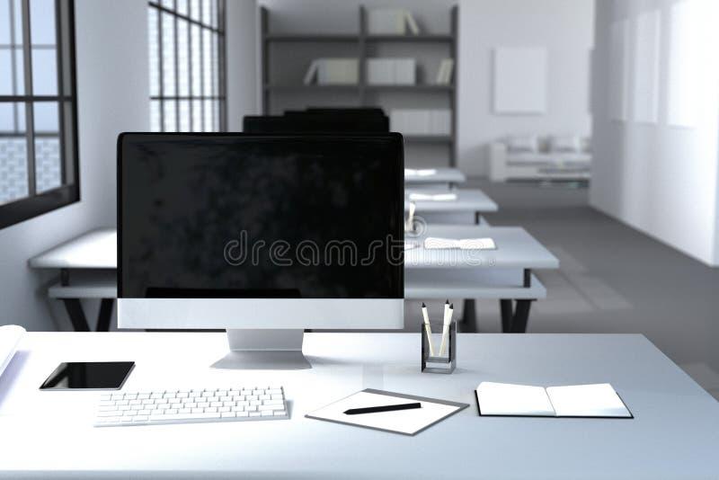 tolkning 3D: illustration av det moderna inre idérika märkes- kontorsskrivbordet med PCdatoren datorlabb chart working för sikten stock illustrationer