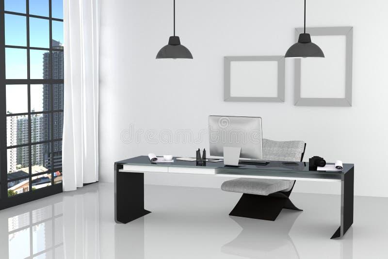 tolkning 3D: illustration av det moderna inre vita kontoret av det idérika märkes- skrivbordet med PCdatoren, tangentbord, kamera royaltyfri illustrationer