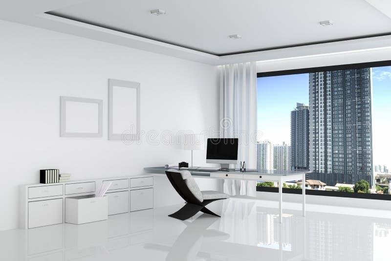 tolkning 3D: illustration av det vita kontoret av det idérika märkes- skrivbordet med den tomma datoren, tangentbordet, kameran,  stock illustrationer