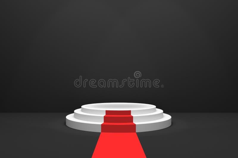 tolkning 3D: illustration av etappen med röd matta för utmärkelseceremoni Runt podium för vit första ställe 3 kliver det tomma po stock illustrationer