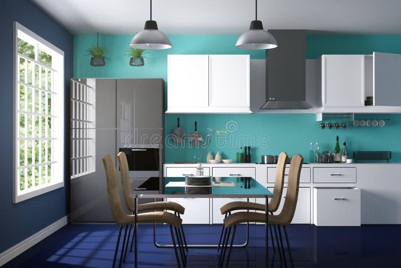 tolkning 3D: illustration av inre kökrum för modern färg kökdel av huset Vit hylla Åtlöje upp vektor illustrationer