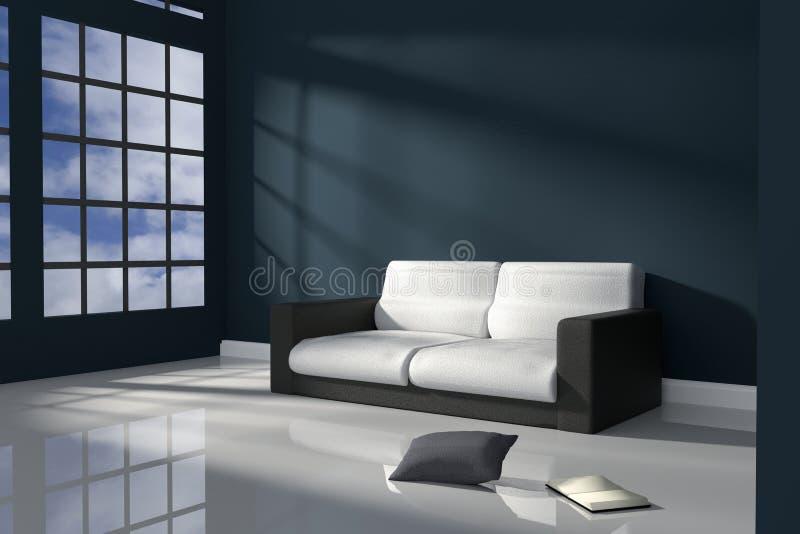 tolkning 3D: illustration av inre rum av mörker - blå minimalismstil med modernt svartvitt lädersoffamöblemang royaltyfri illustrationer