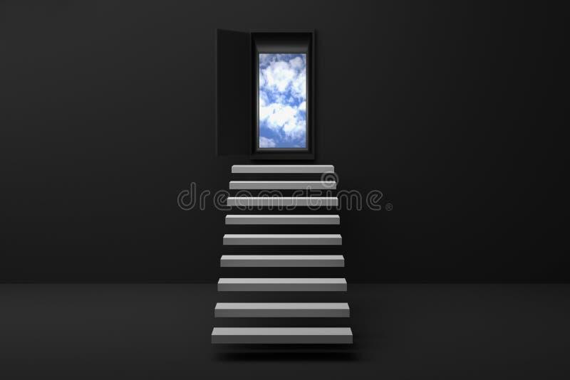 tolkning 3D: illustration av trappan eller moment upp till himlen i en dörr mot den svarta väggen och golvet, öppnad dörr till bl stock illustrationer