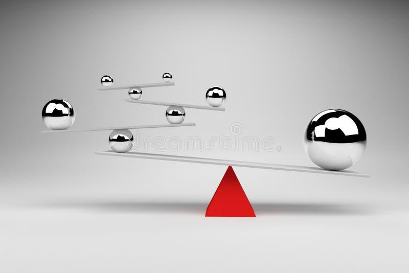 tolkning 3D: illustrationen av att balansera klumpa ihop sig ombord befruktningen, jämviktsbegrepp royaltyfri illustrationer