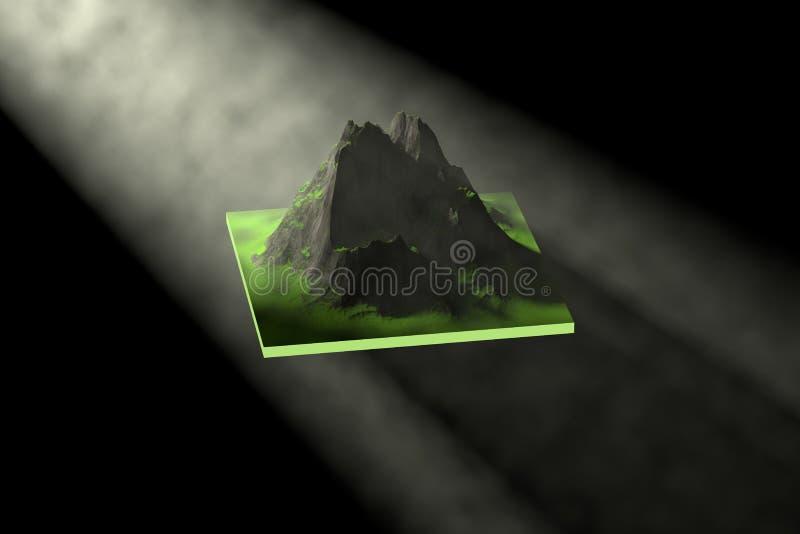 tolkning 3D, klimpiga berg och ljus och dimma stock illustrationer