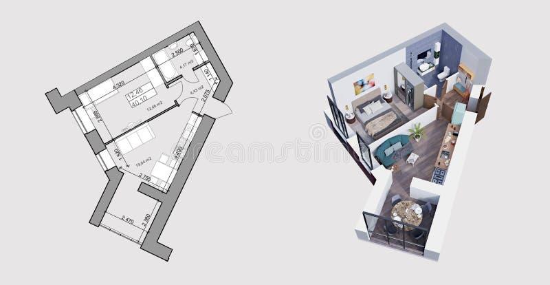 tolkning 3d och plan/orientering av en modern lägenhet stock illustrationer
