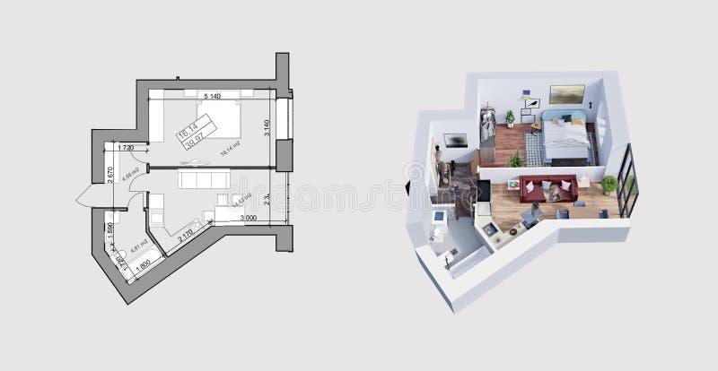 tolkning 3d och plan/orientering av en modern l?genhet royaltyfri illustrationer