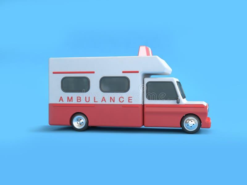 Tolkning för bakgrund 3d för röd vit ambulanstecknad filmstil blå royaltyfri illustrationer