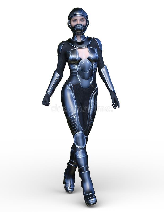 tolkning för 3D CG av den aktiva kvinnan vektor illustrationer