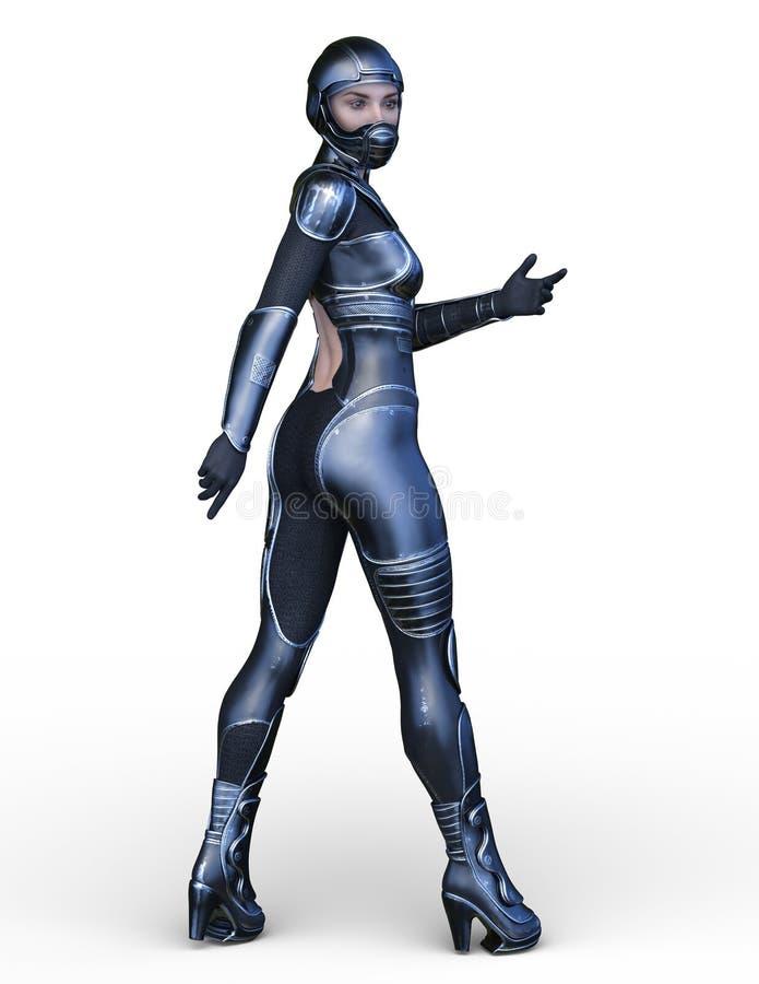 tolkning för 3D CG av den aktiva kvinnan royaltyfri illustrationer