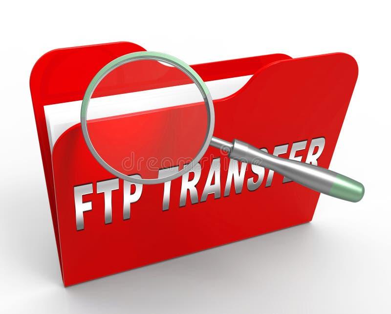Tolkning för data 3d för Ftp-mappöverföring överförande stock illustrationer
