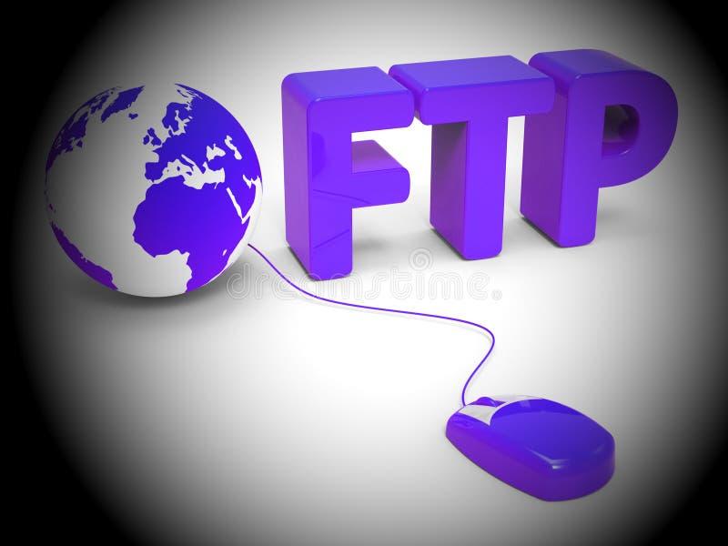 Tolkning för data 3d för Ftp-mappöverföring överförande royaltyfri illustrationer