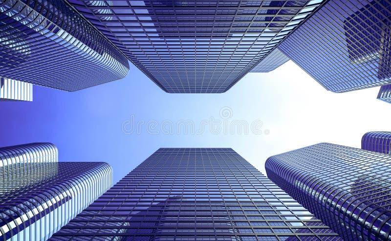 Tolkning för diagram för dator för teknologi för konstruktioner för stad för affärsbyggnadsskyskrapa arkitektonisk 3d vektor illustrationer