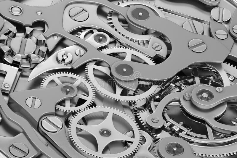 Tolkning för klockamaskineri 3D med gråton för kugghjulnärbildsikt royaltyfri illustrationer