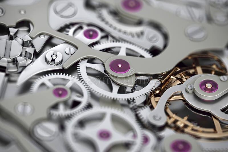 Tolkning för klockamaskineri 3D med kugghjulnärbildsikt med dof stock illustrationer