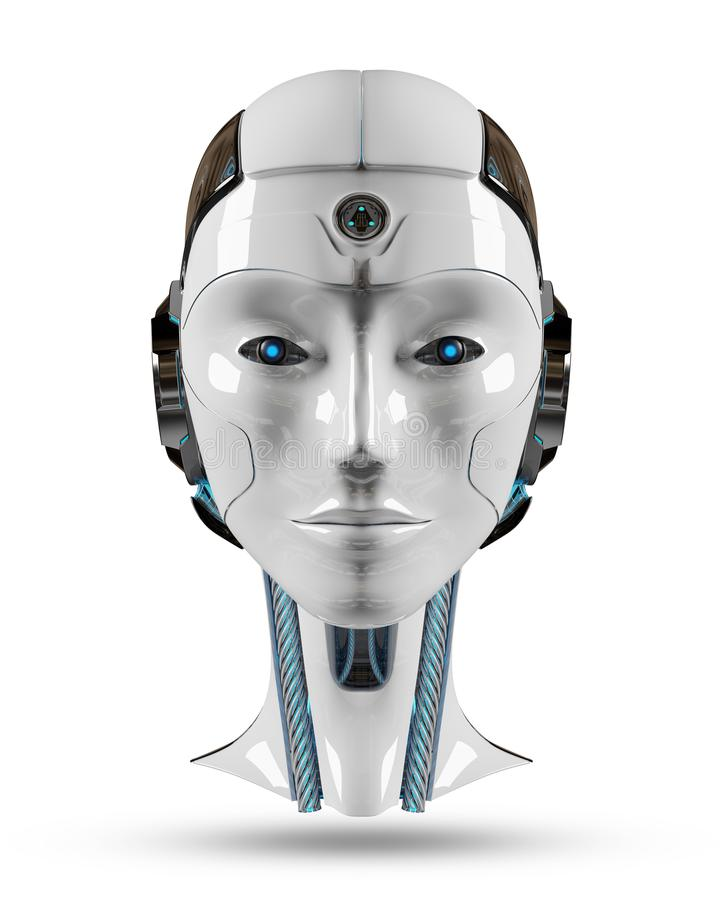 Tolkning för konstgjord intelligens 3D för Cyborg head royaltyfri illustrationer