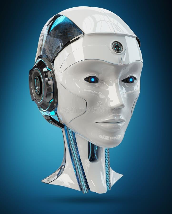Tolkning för konstgjord intelligens 3D för Cyborg head vektor illustrationer