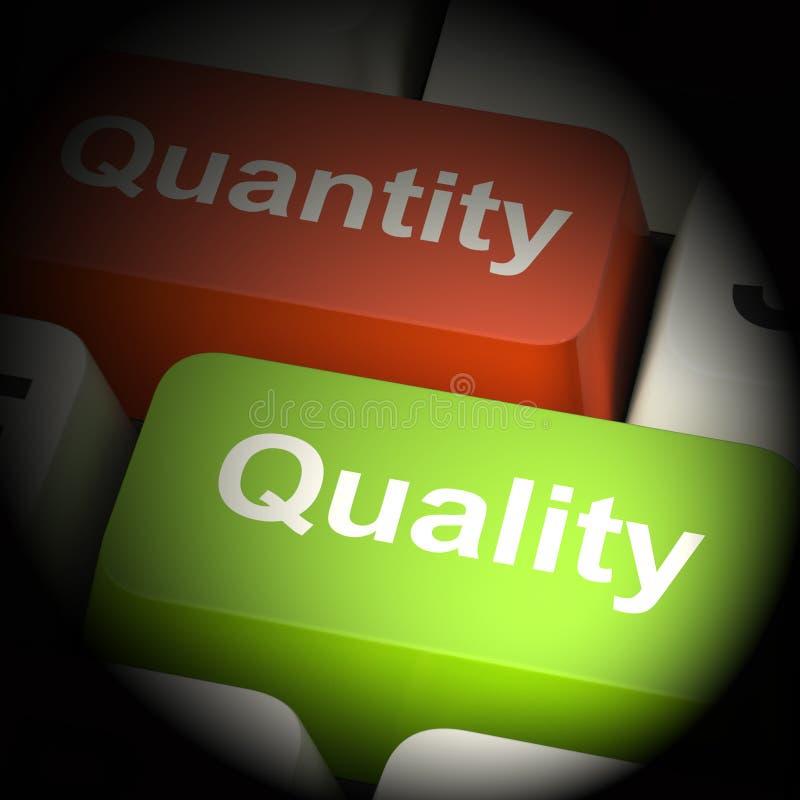 Tolkning för kvalitets- och antalsdatortangenter 3d stock illustrationer