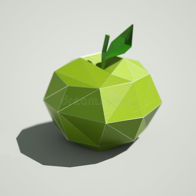 Tolkning för Lowpoly äpplefrukter 3D royaltyfria foton
