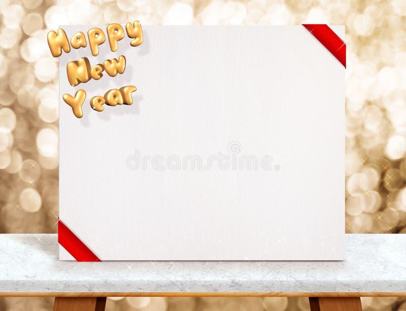Tolkning för lyckligt nytt år 3d på den vita affischen med det röda bandet på royaltyfri fotografi