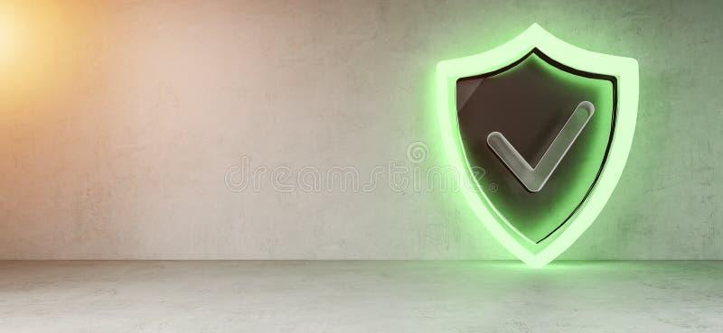 Tolkning för manöverenhet 3D för Smarthome sköldsäkerhet stock illustrationer