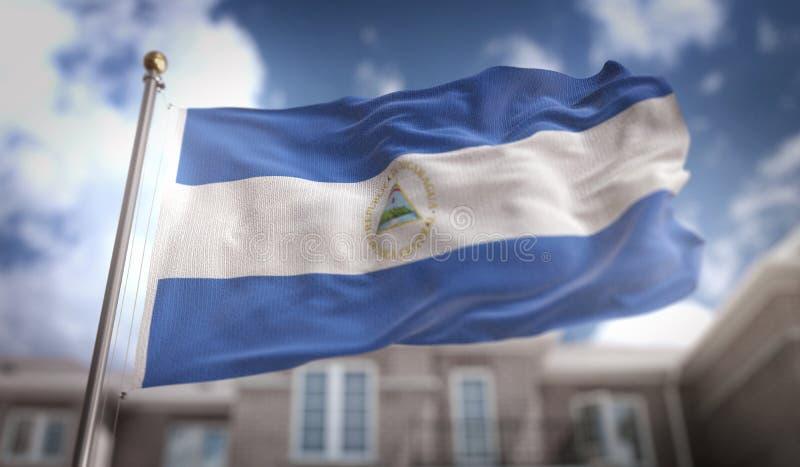 Tolkning för Nicaragua flagga 3D på byggnadsbakgrund för blå himmel arkivfoto