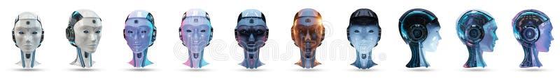 Tolkning för packe 3D för konstgjord intelligens för Cyborg head vektor illustrationer