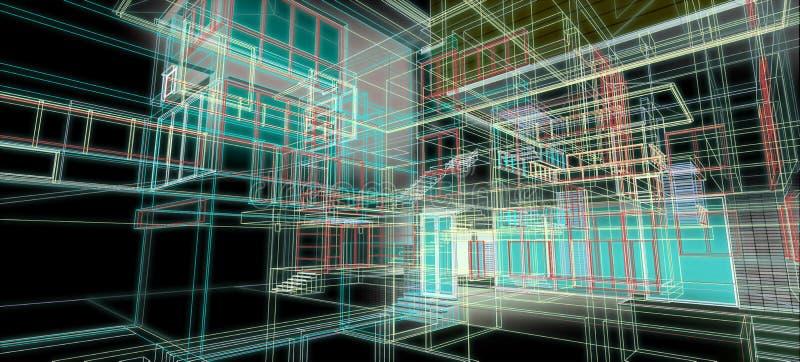 Tolkning för ram för tråd för perspektiv för arkitekturdesignbegrepp 3d färgrik med någon materiell svart bakgrund för abstrakt b stock illustrationer