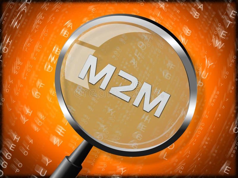 Tolkning för samarbete 3d för M2M Machine Connectivity And vektor illustrationer