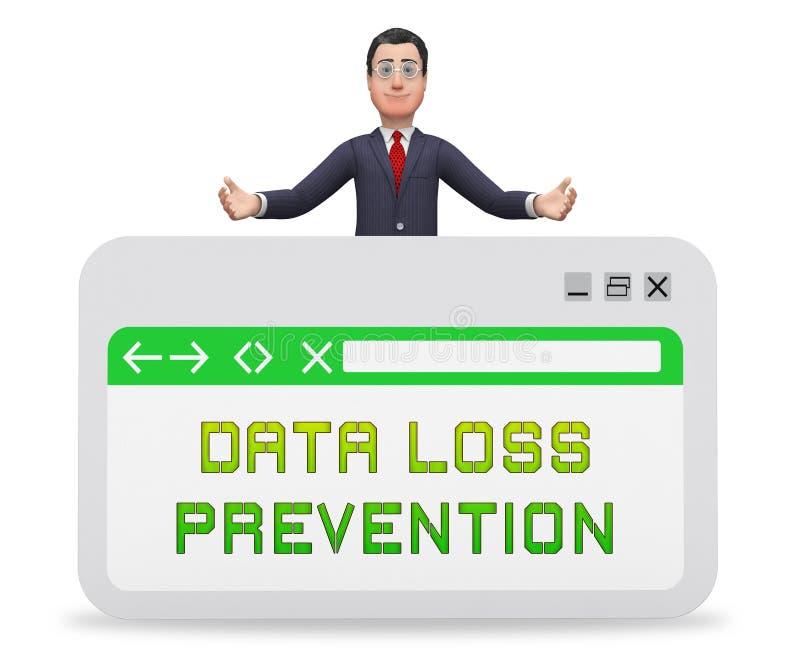 Tolkning för sköld 3d för säkerhet för dataförlustförhindrande royaltyfri illustrationer