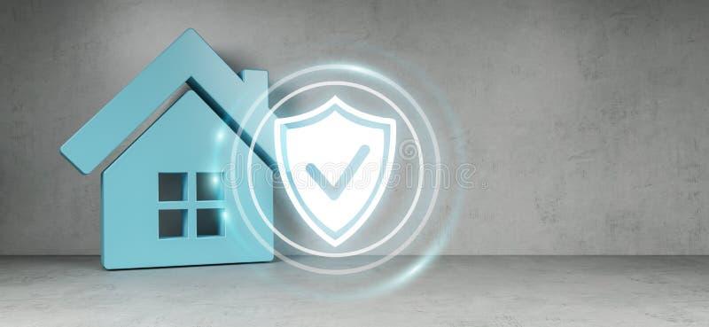 Tolkning för Smarthome säkerhetsmanöverenhet 3D stock illustrationer