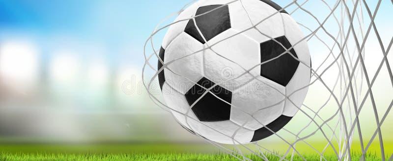 Tolkning för stadion för fotboll för boll för fotbollmålfotboll 3d stock illustrationer