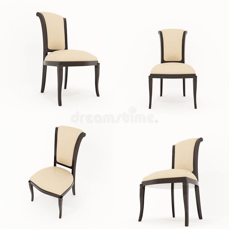 Tolkning för stol 3D på vitbakgrund royaltyfri illustrationer