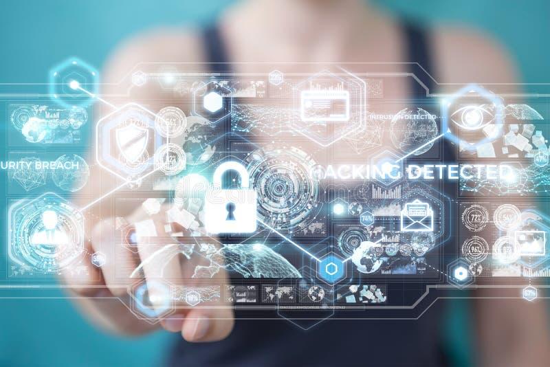 Tolkning för system för affärskvinnadataintrångsäkerhet 3D vektor illustrationer