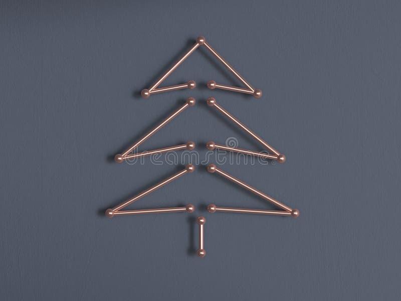 Tolkning för träd 3d för abstrakt metall för grå färgvägg guld- koppar stock illustrationer