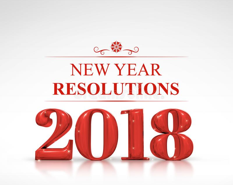 Tolkning för upplösningar 3d för nytt år för röd färg 2018 på den vita dubben royaltyfri illustrationer